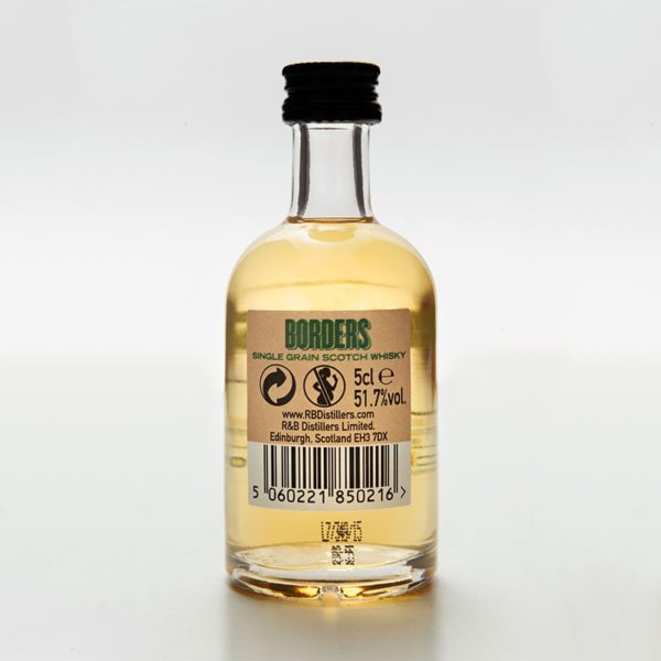 Borders; a highland single grain Scotch whisky miniature back