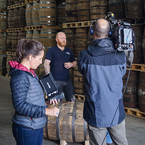 BBC Landward Crew at Raasay Distillery