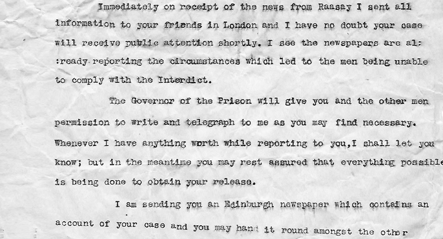 Raasay Raiders Letter Donald Shaw to Donald MacLeod