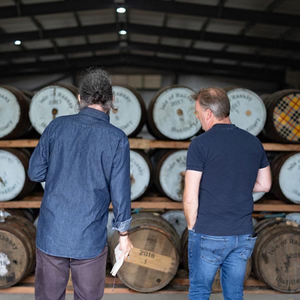 Alasdair Day & Dave Broom in Raasay Distillery Warehouse